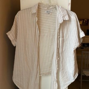 Madewell Button Down Tie Front Top